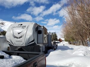 winter rv camping in the mountains