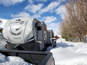 snow on slideouts on a rv